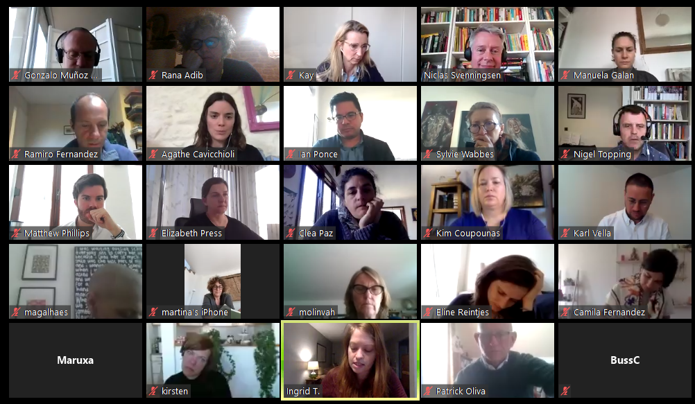 Rana in a digital zoom meeting