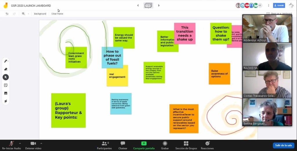 REN21 ACEF 2020 side event brainstorm using Jamboard